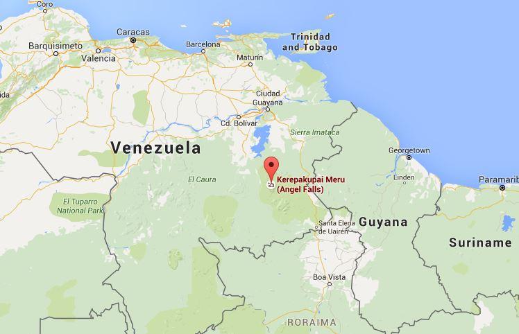 Posizione delle Dragon Falls in Venezuela