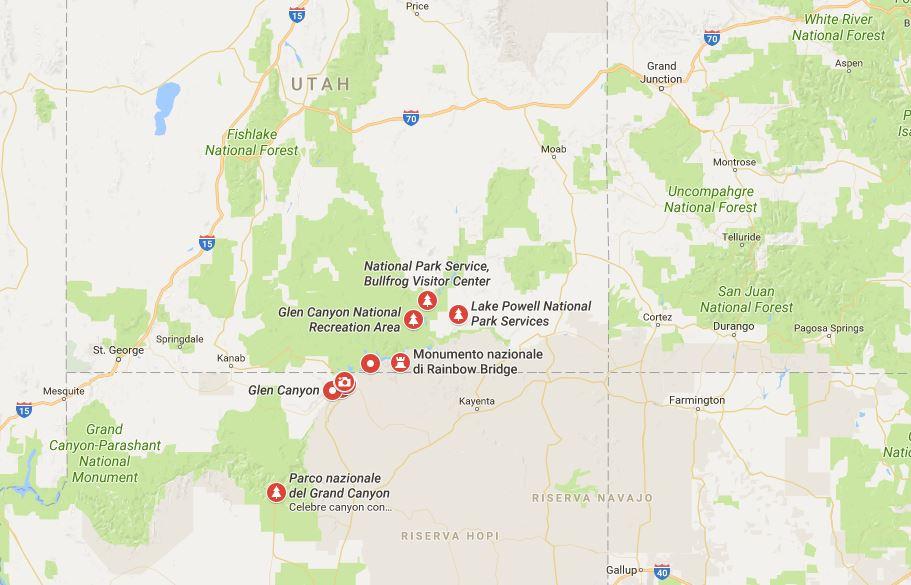 Il Glen Canyon sulla mappa