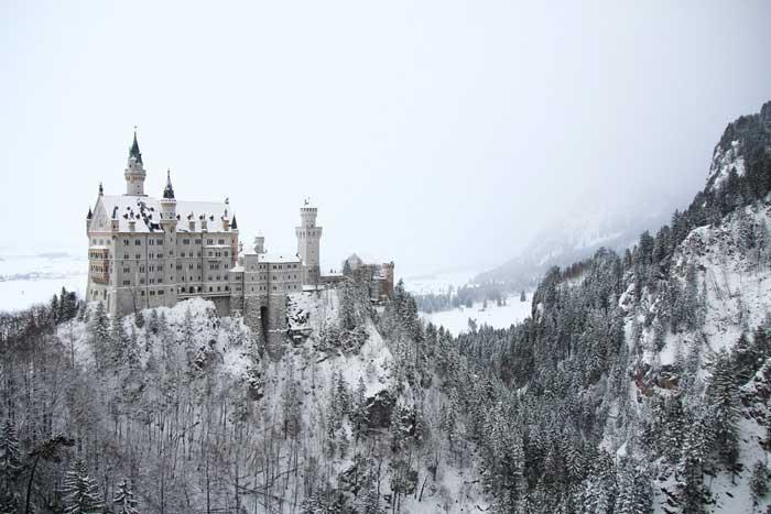 paesaggio innevato a Neuschwanstein