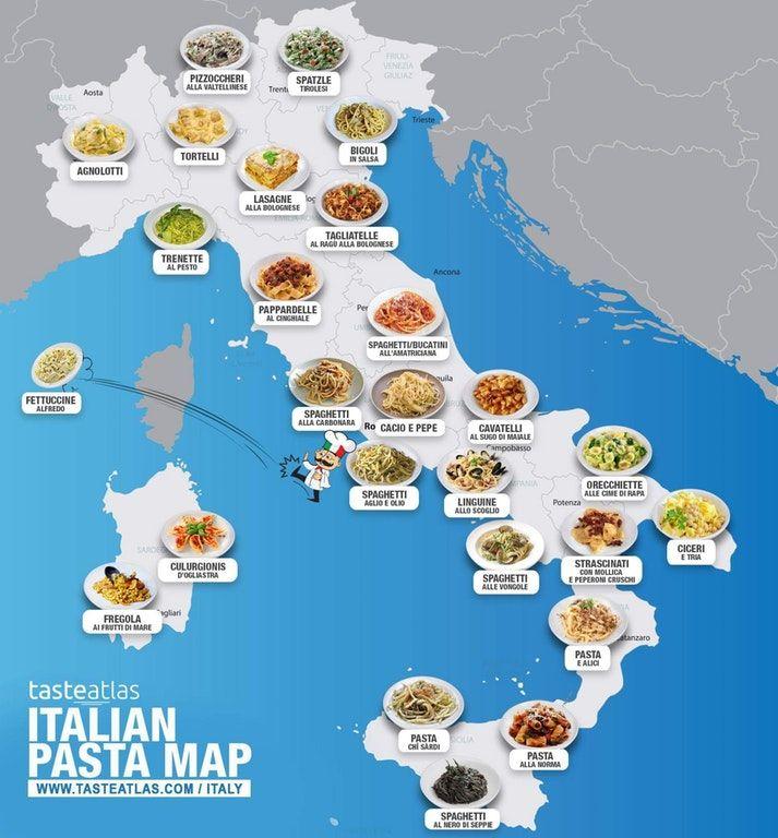 La mappa dei piatti di pasta in Italia